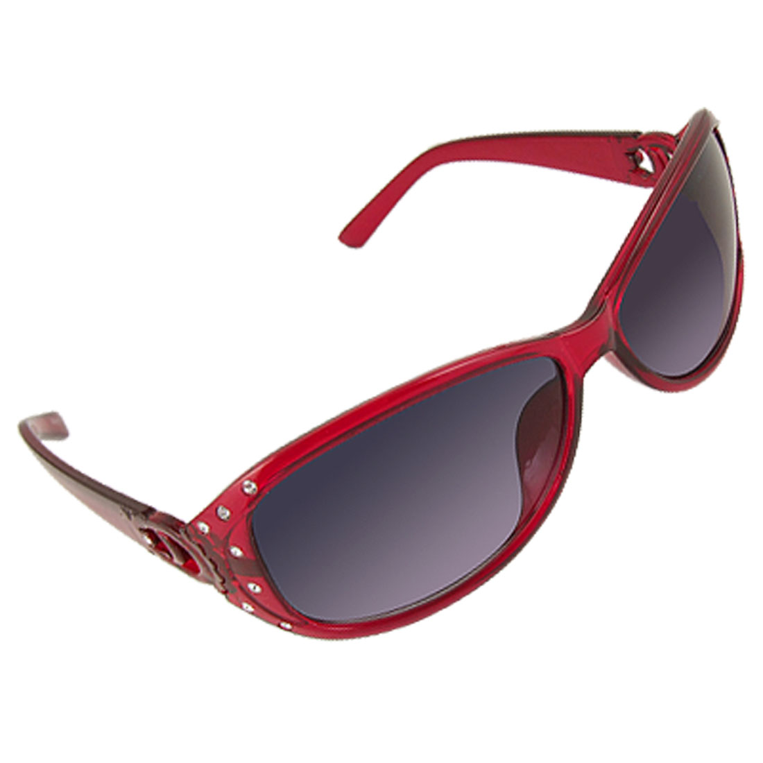 Women Burgundy Plastic Full Frame Rhinestone Decor Arms Sunglasses