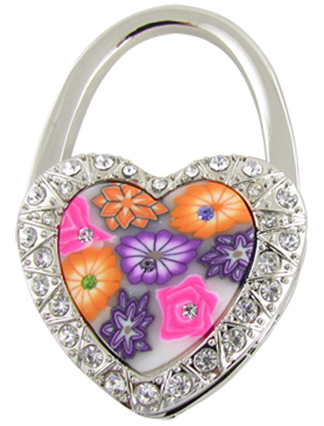 Colorful Heart Lock Style Folding Table Hook for Handbag Purse