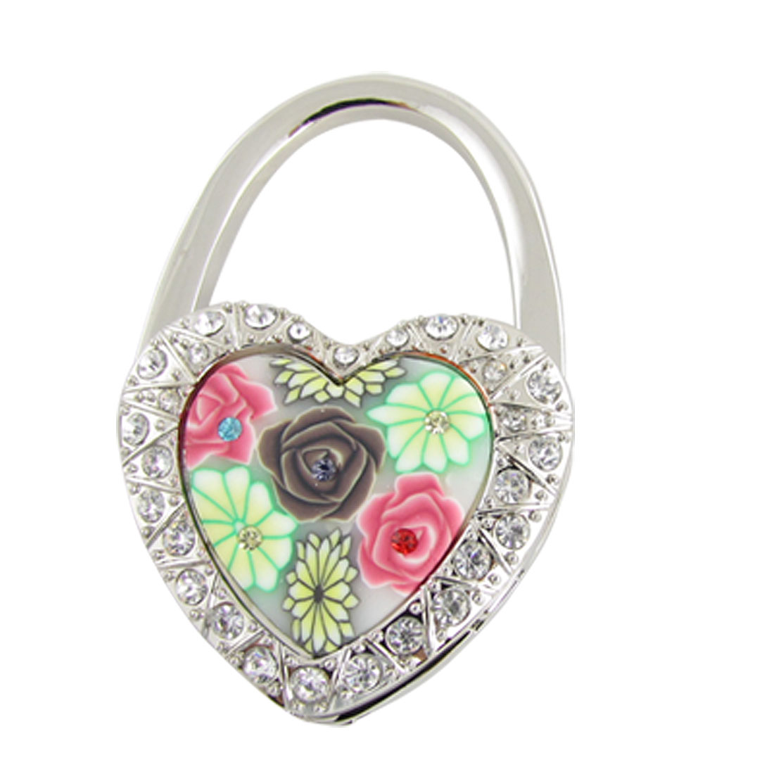 Portable Rhinestone Inlaid Heart Lock Style Handbag Folding Hook