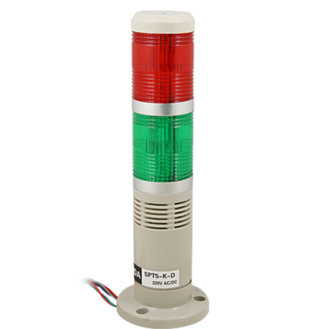 90dB AC 220V Industrial Red Green LED Signal Tower Buzzer Alarm Warning Flash Light