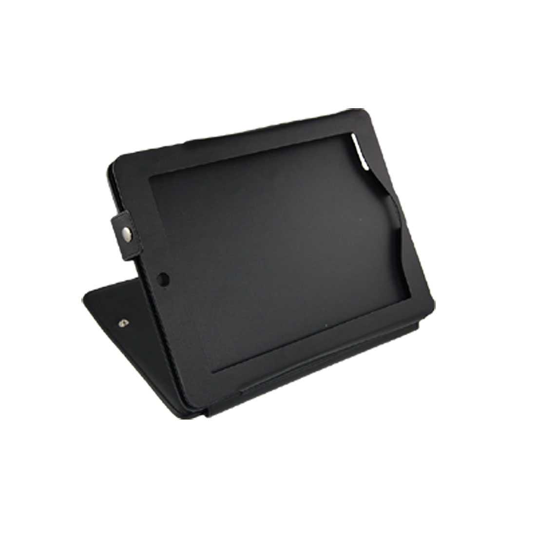 Black Stitch Trim Faux Leather Stand Cover for iPad 2G