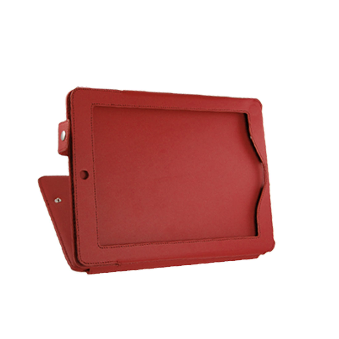 Press Button Faux Leather Stand Case Red for iPad 2G