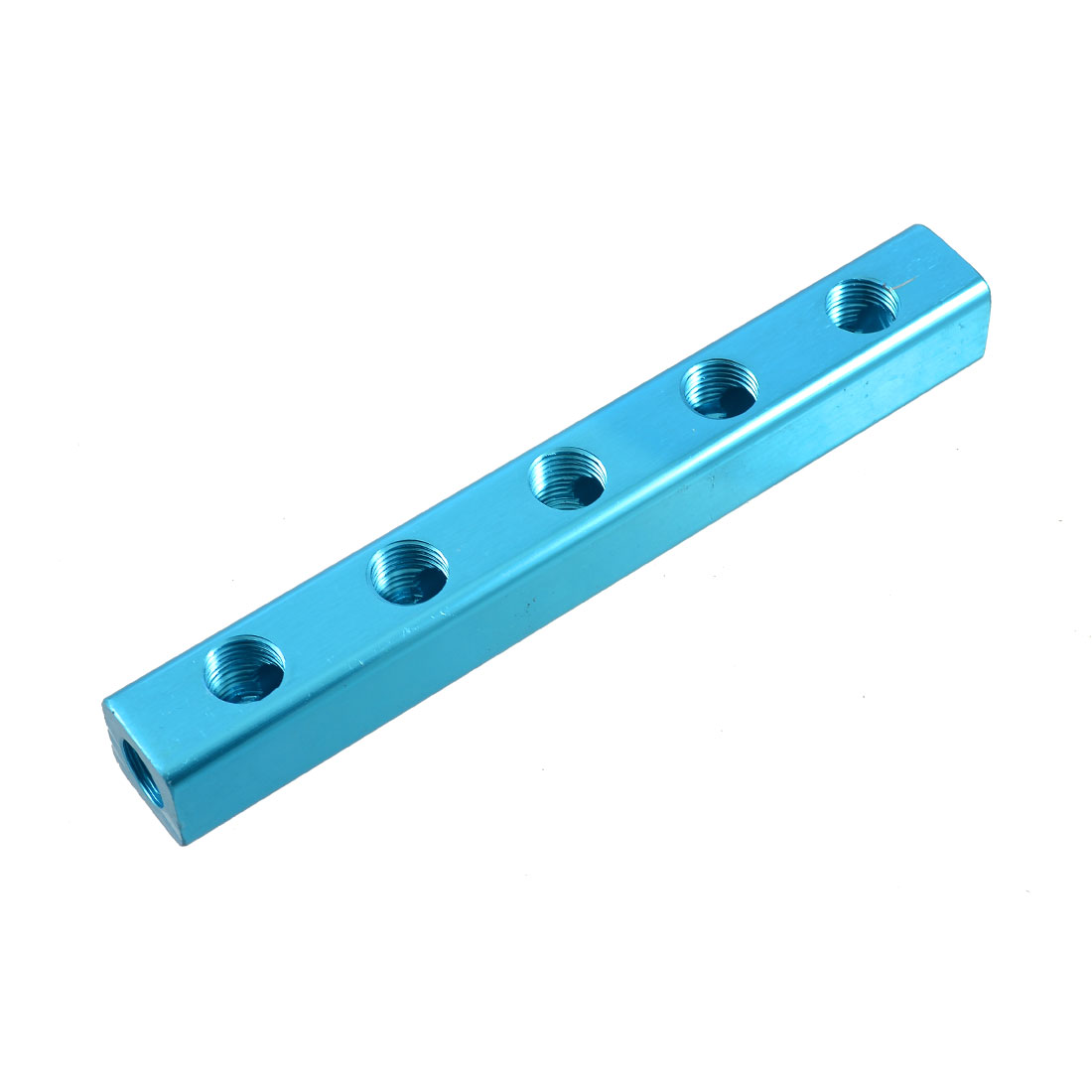 Pneumatic Quick Connect Blue Aluminum 5 Way Air Manifold Splitter Block
