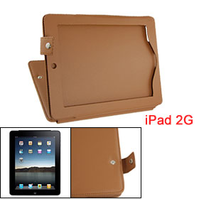 Brown Stitching Trim Faux Leather Case Cover for iPad 2G