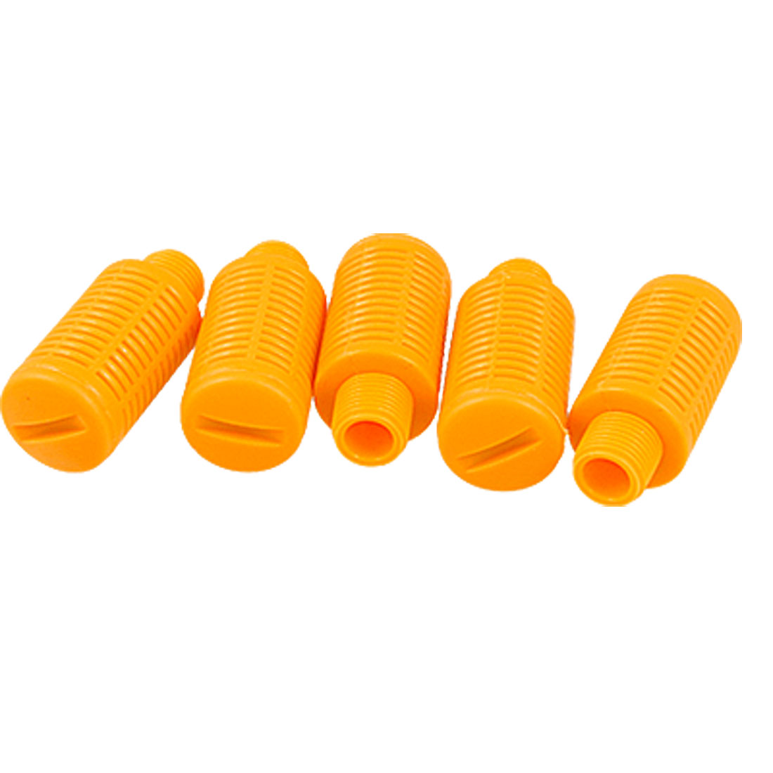 "5 Pcs Orange Plastic 0.35"" Thread Air Exhaust Pneumatic Silencer Muffler"