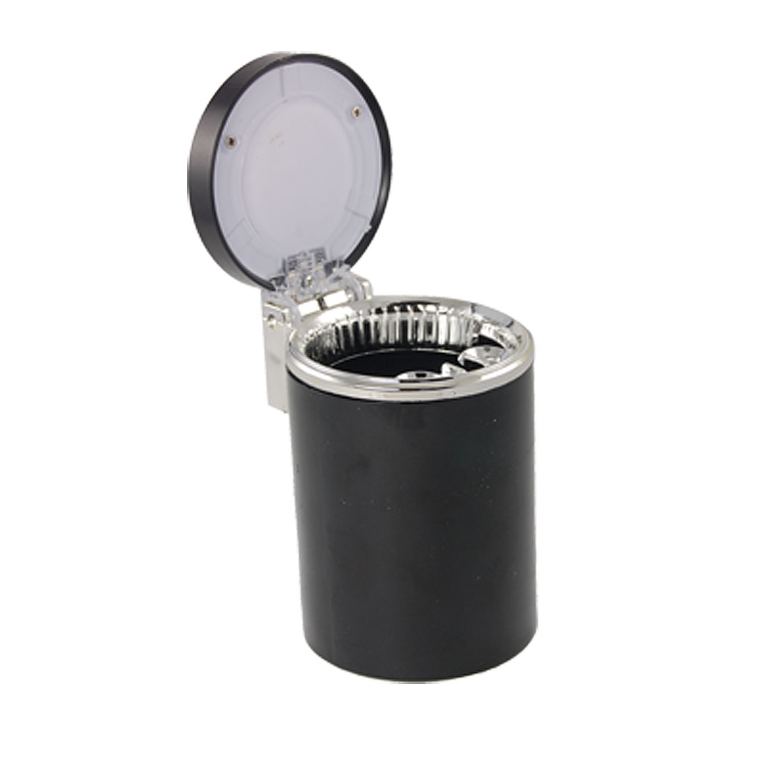 Black Plastic Cylinder Blue LED Light Vehicle Ashtray