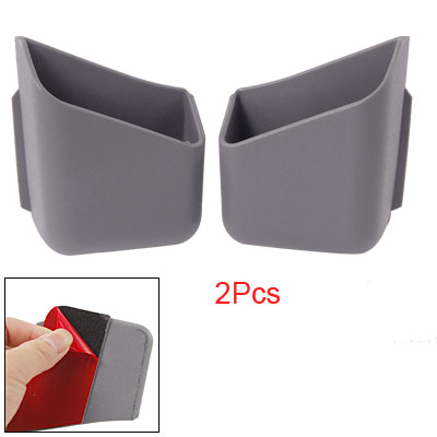 Car 2 Pcs Gray Soft Plastic Pillar Pocket Holder for Mobile Phone