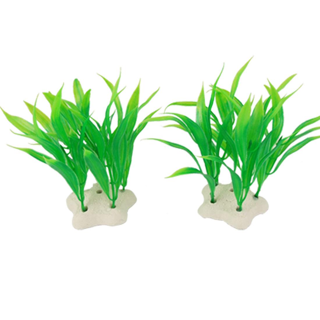 2 Pcs Emulational Green Plastic Plants Decoration for Fish Tank Aquarium