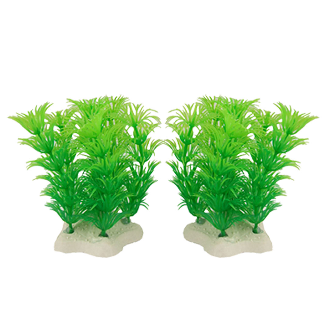 2 Pcs Artifical Green Plastic Plants Decoration for Fish Tank Aquarium