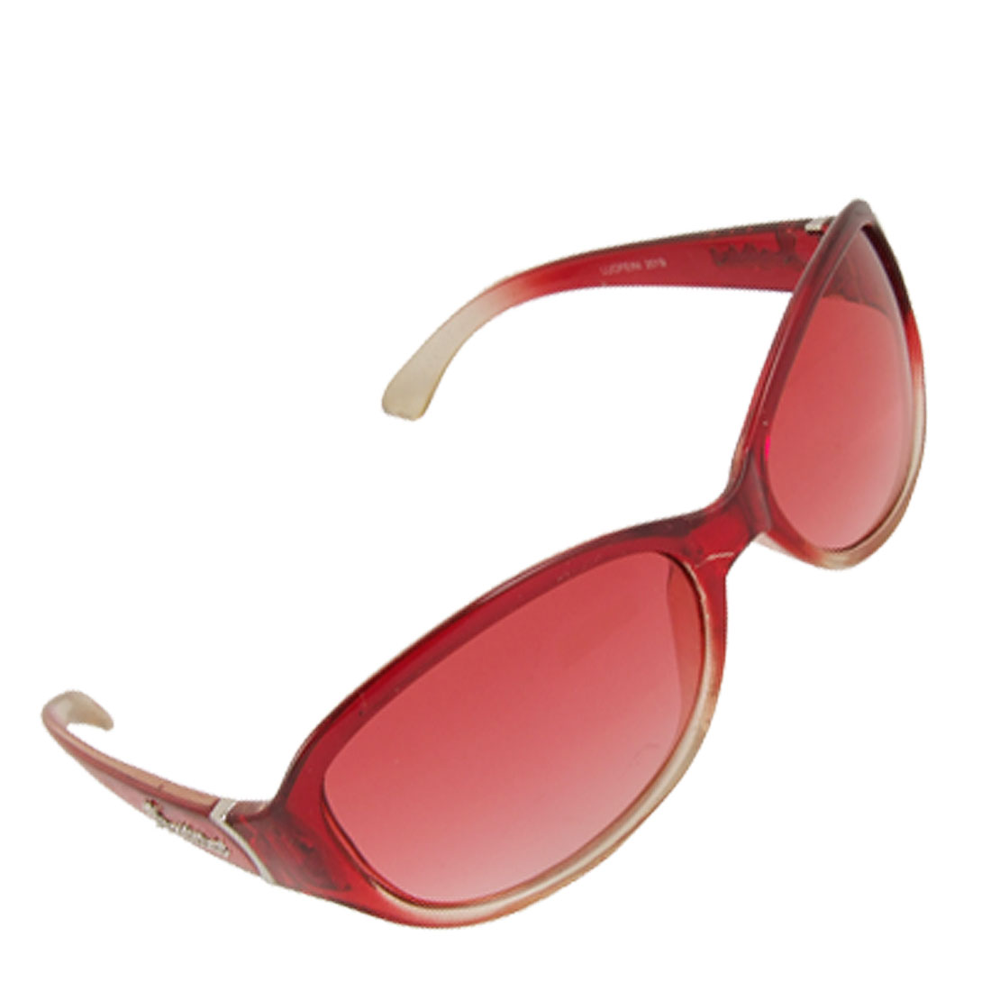 Lady Oval Lens Burgundy Plastic Full Frame Letter Decor Arms Sunglasses