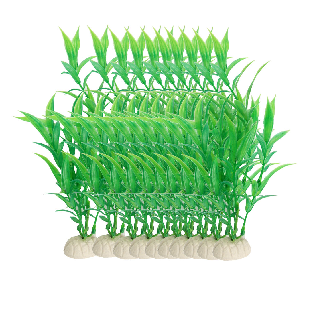 10 Pcs Green Plastic Aquascaping Plant Decor for Aquarium