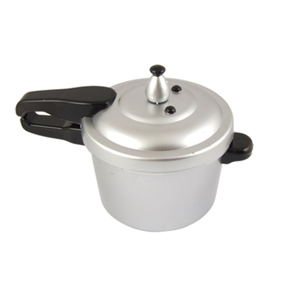Plastic Pressure Cooker Design Coin Saving Box Silver Tone Black
