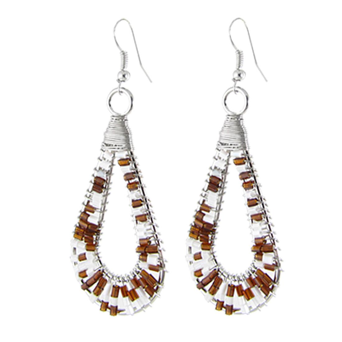 White Brown Beads Circle Teardrop Loop Chandelier Hook Earring for Lady