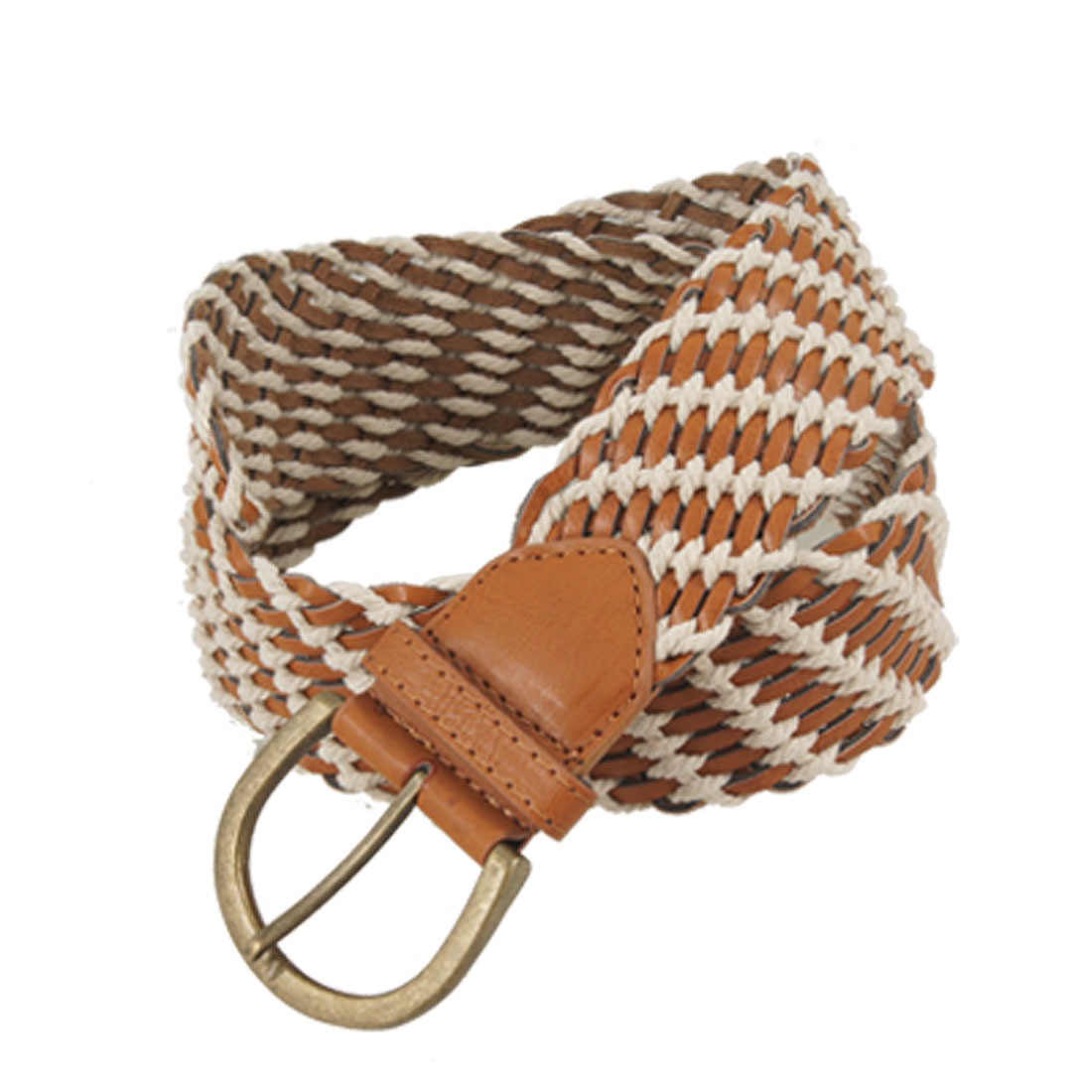 Brown White Woven Design Faux lLeather Belt for Lady