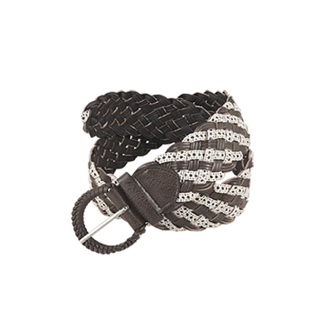 Lady Dark Brown White Adjustable Band Weave Waist Belt
