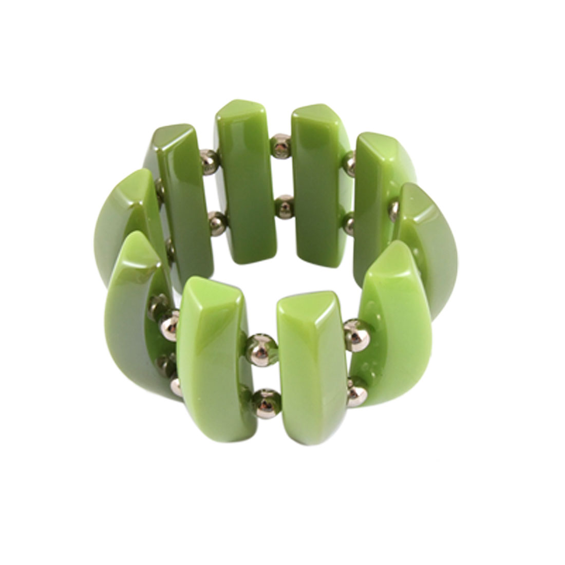 Ladies Green Hard Plastic Beads Elastic Wrist Bracelet