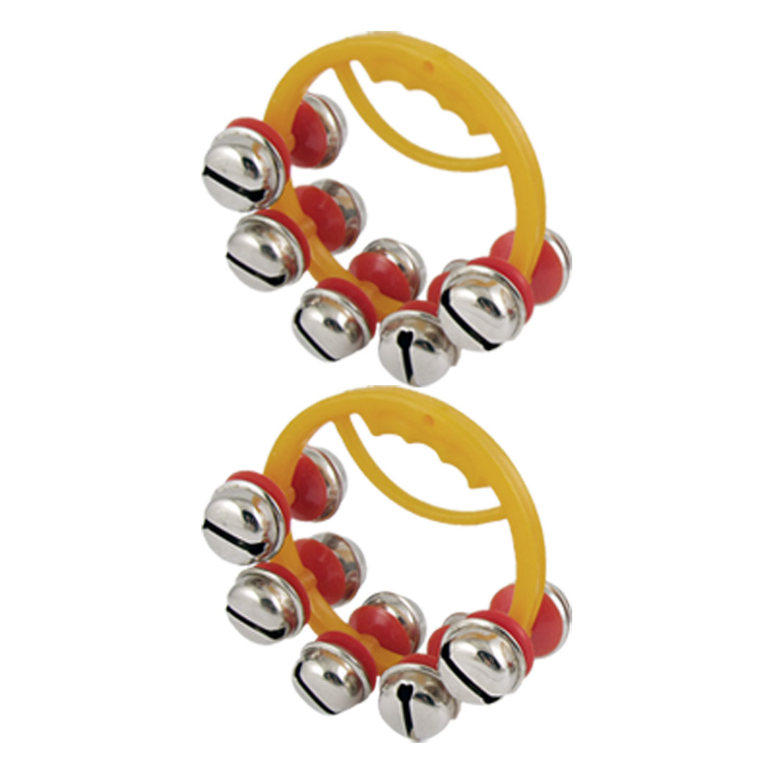"2 Pcs 3"" Dia Frame 10 Metal Bell Tambourine Handbell for Child"
