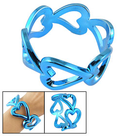 Blue Heart Shape Plastic Bracelet Wrist Bangle for Lady