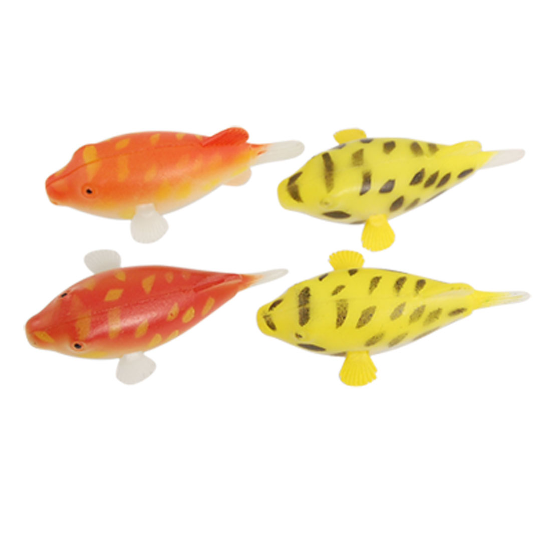 Aquarium Flexible Fins Speckled Fish Ornament 4 Pcs
