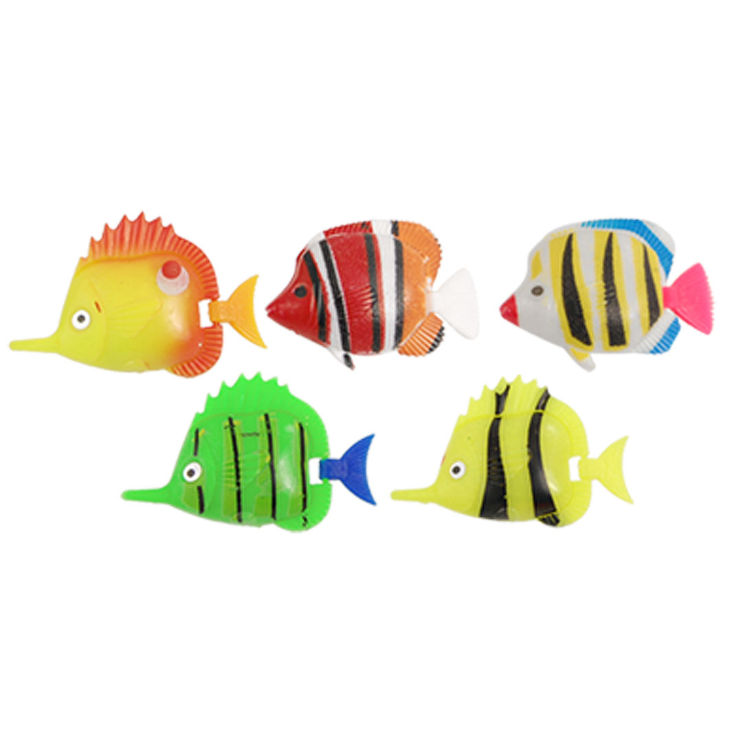 Colorful Swimming Plastic Tropical Fish 5 Pcs for Aquarium