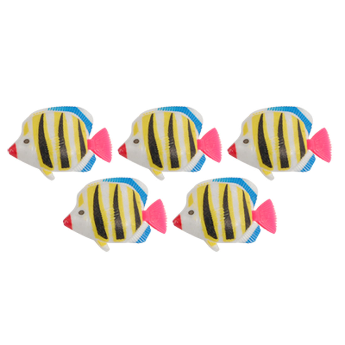 Aquarium Yellow Black Striped Plastic Fish Decoration