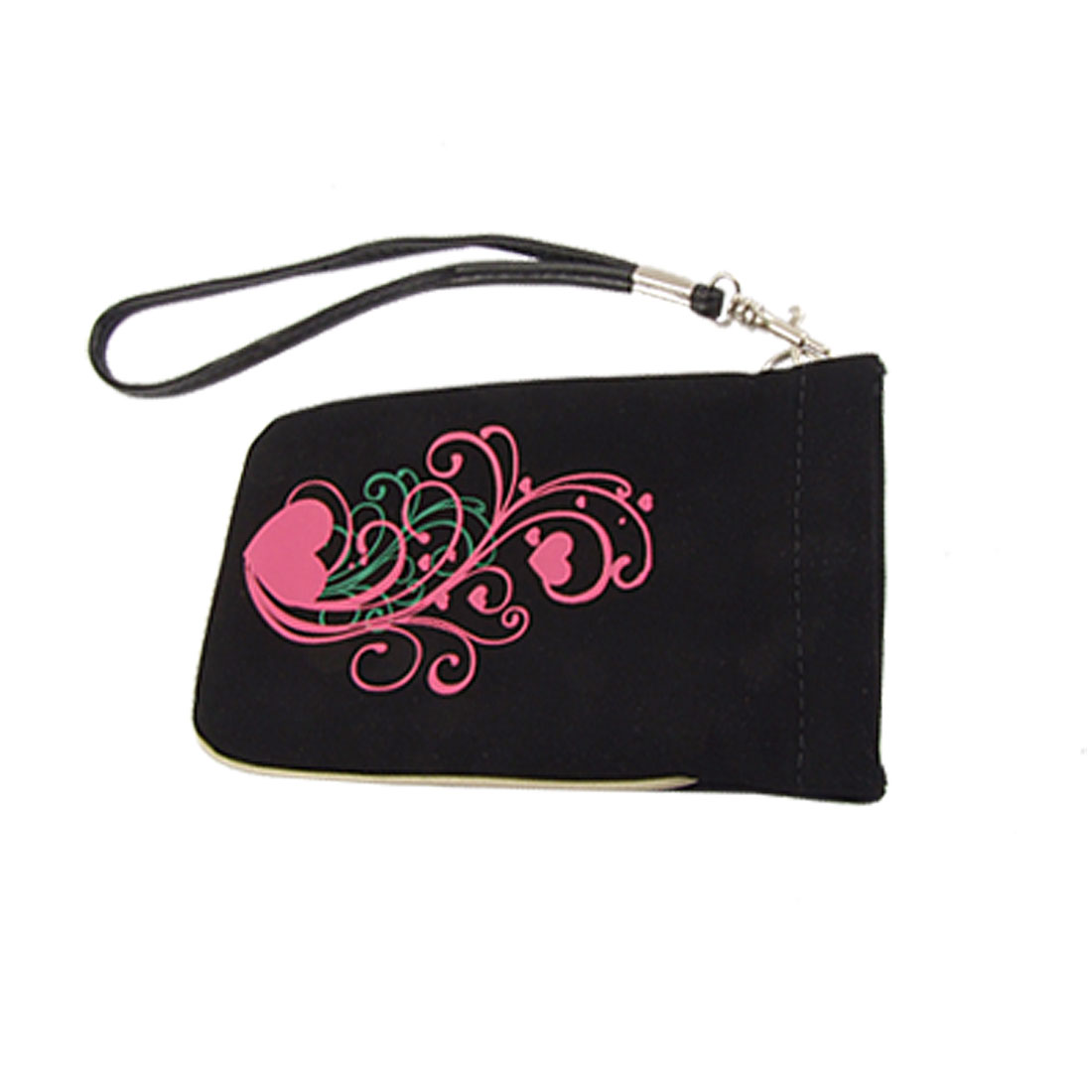 Fuchsia Heart Black Faux Suede Pouch w Hand Strap for iPhone 4 4G