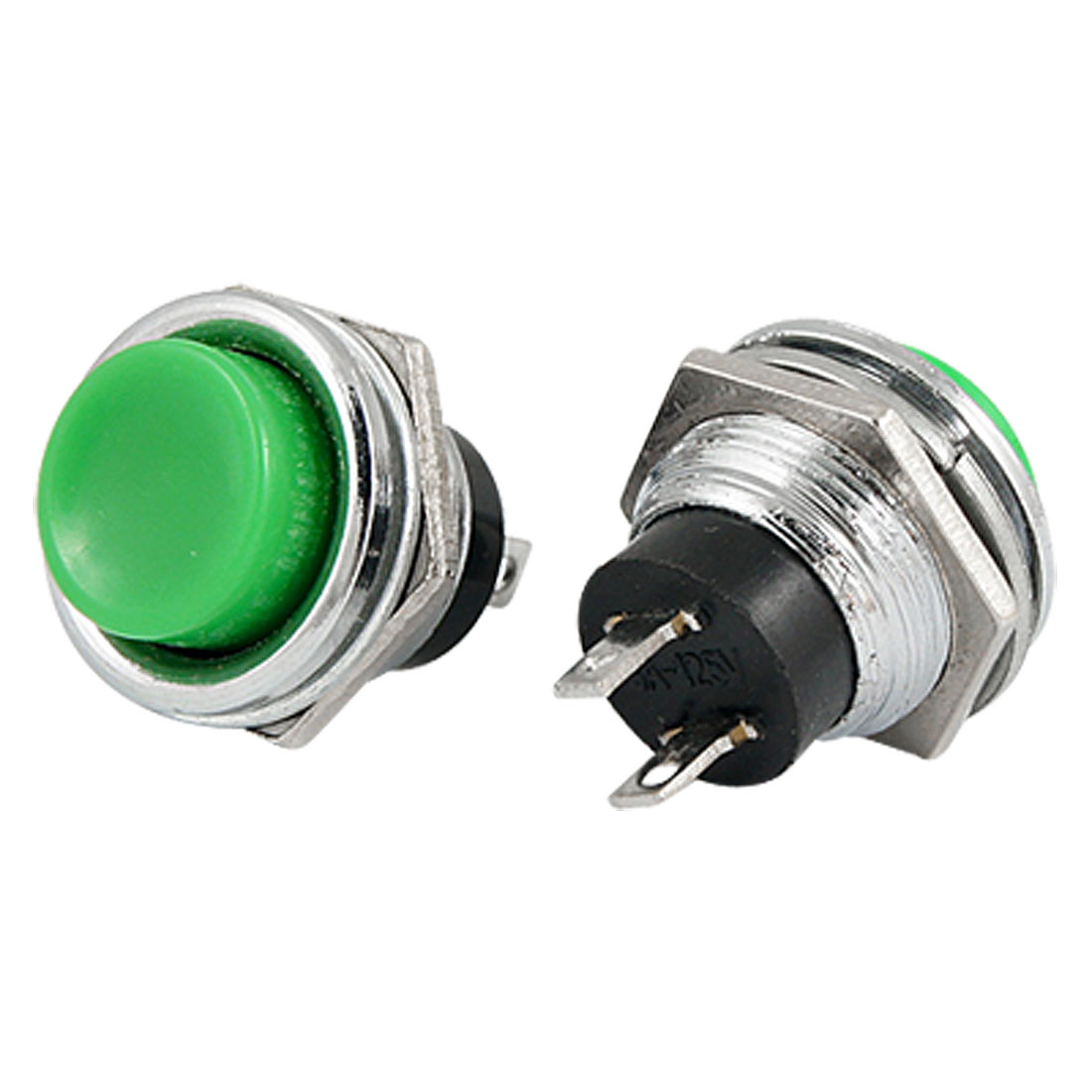 2 Pcs AC 125V 3A Round Green Cap Panel Mount Momentary Push Button Switch