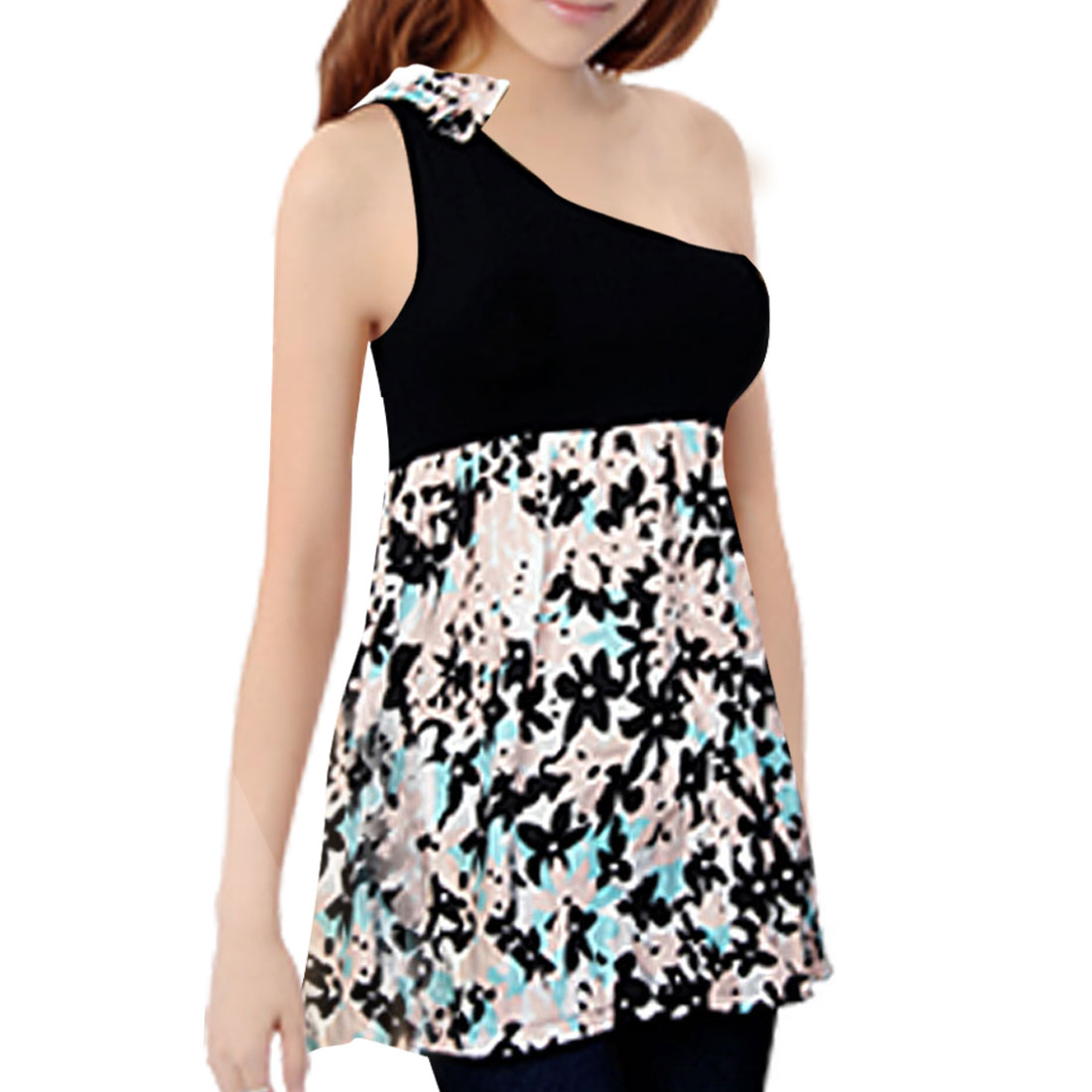 Ladies Floral Printed Elastic Waist One Shoulder Shirt Black XS