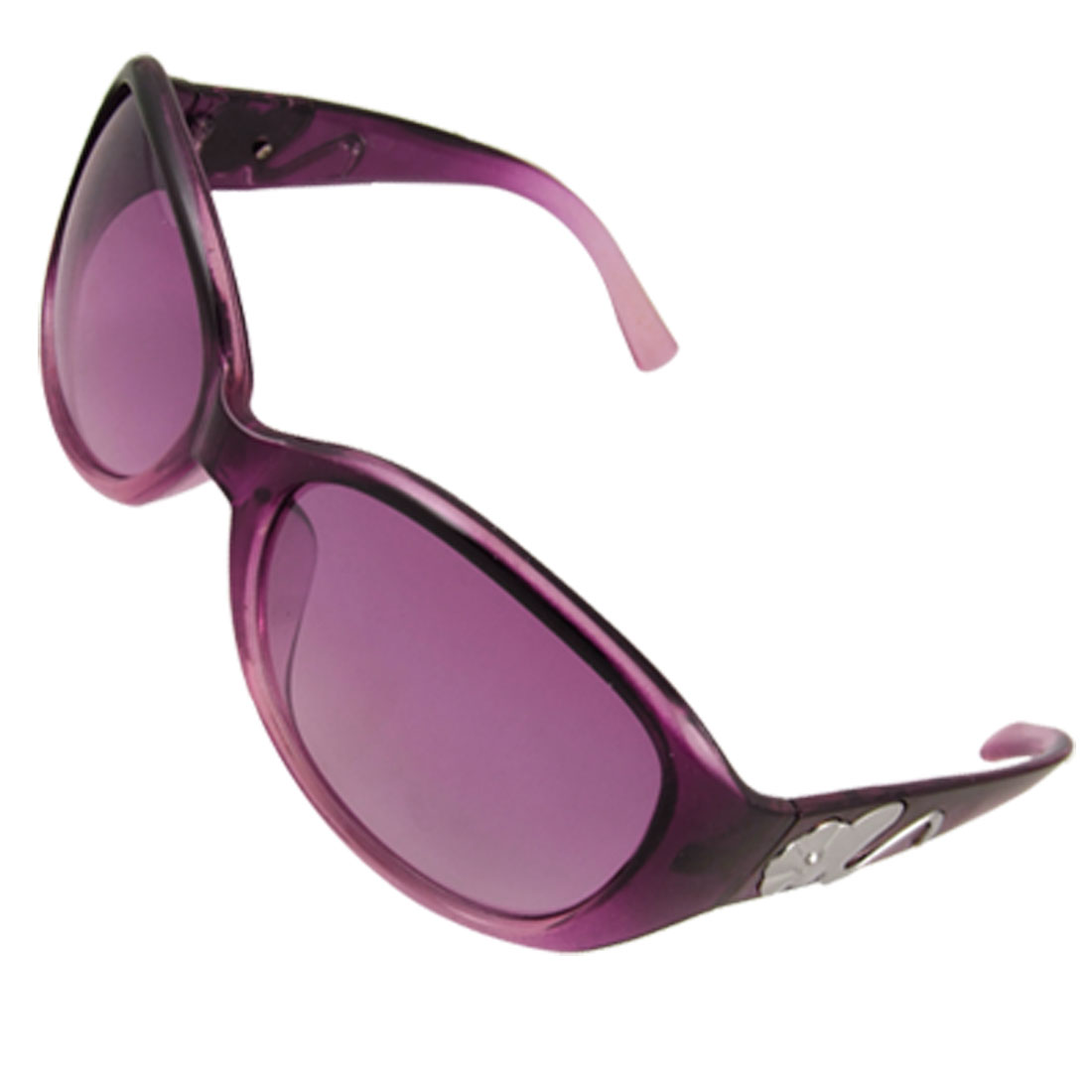Lady Full Rim Oval Lens Purple Plastic Arm Sunglasses Eyewear