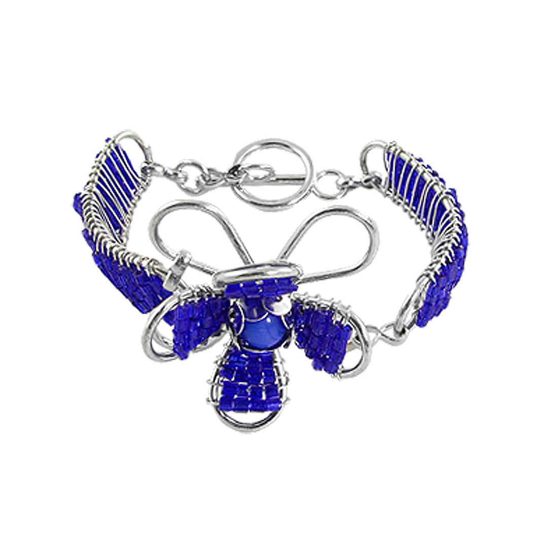 Lady Blue Tube Beads Wire Flower Band Interlocking Closure Bracelet