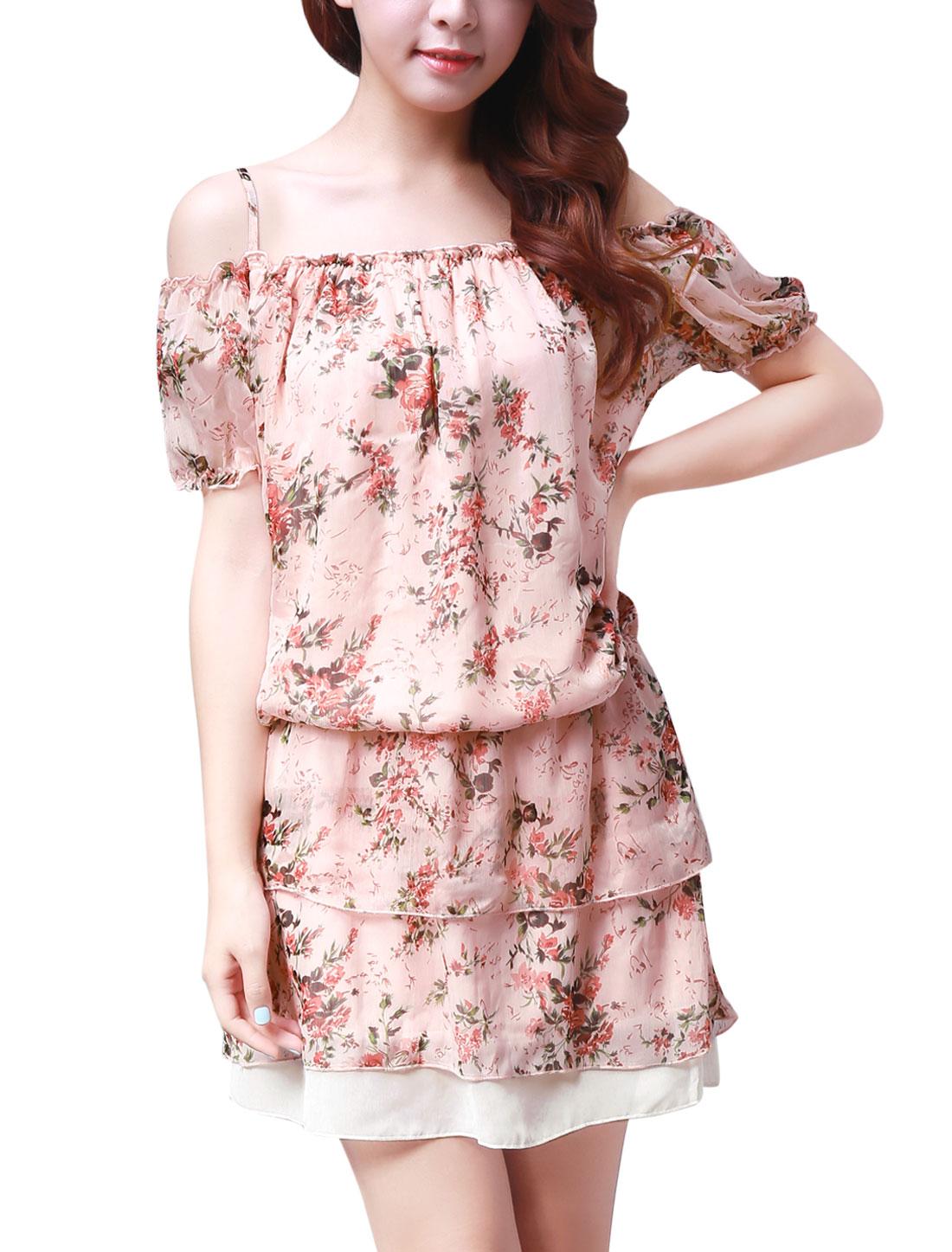 Women Elastic Waist Tiered Chiffon Floral Mini Dress Pink S