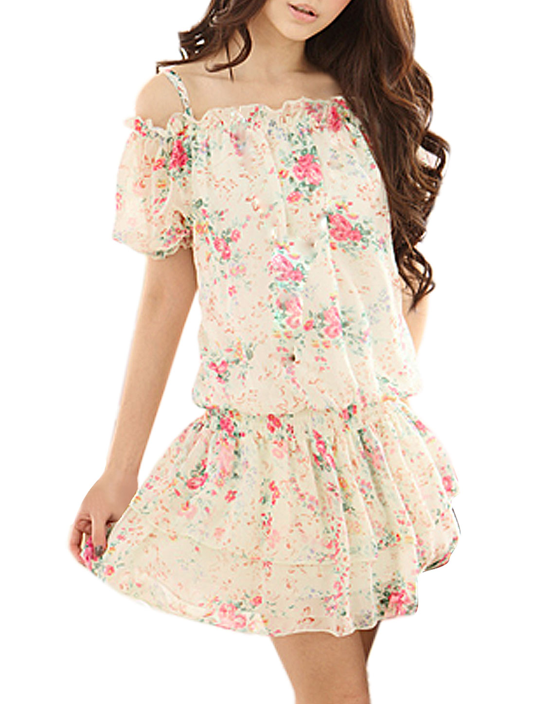 Ladies Colored Flower Prints Off Shoulder Mini Dress S