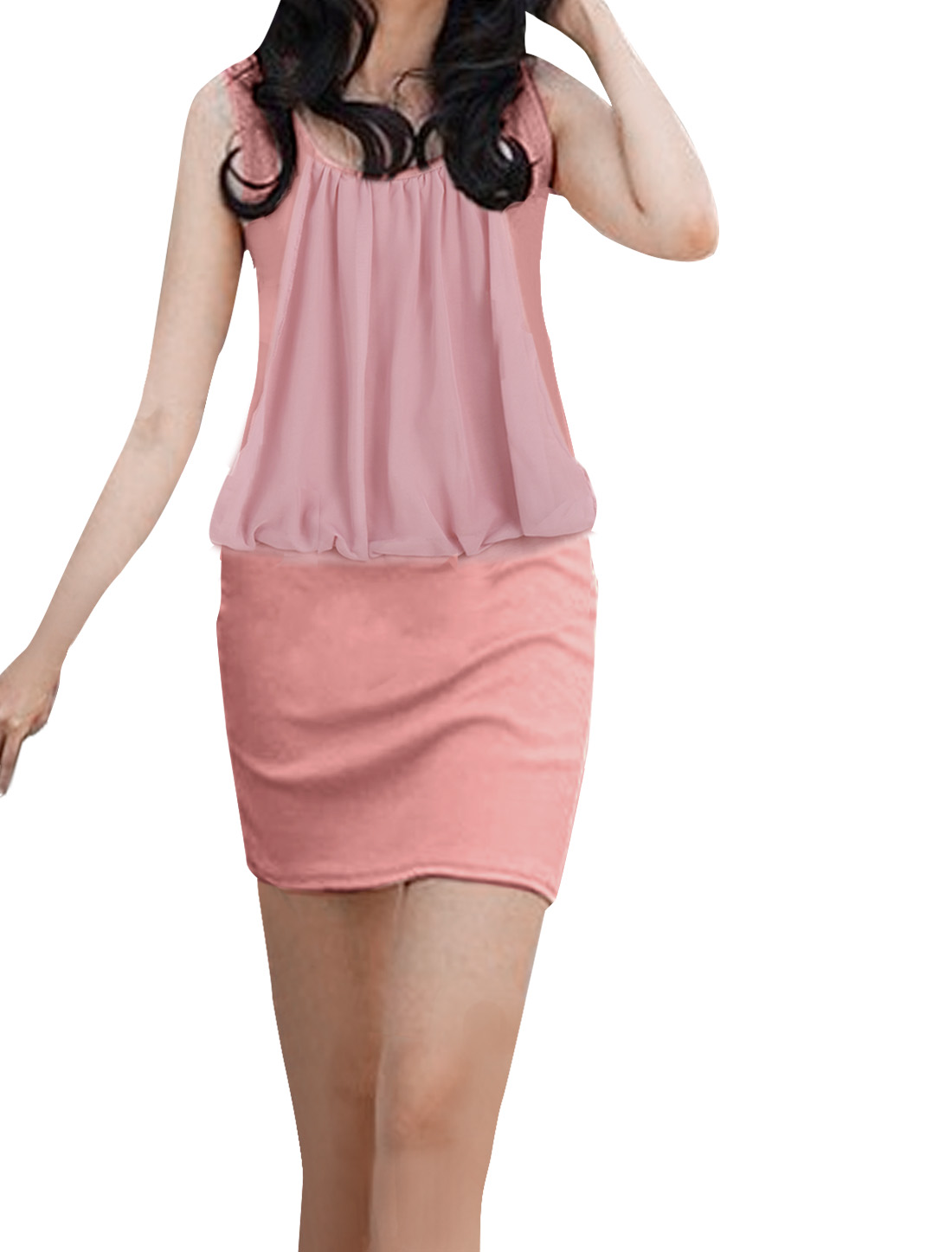 Ladies OL Pink Sleeveless Round Neck Mini Tank Dress S