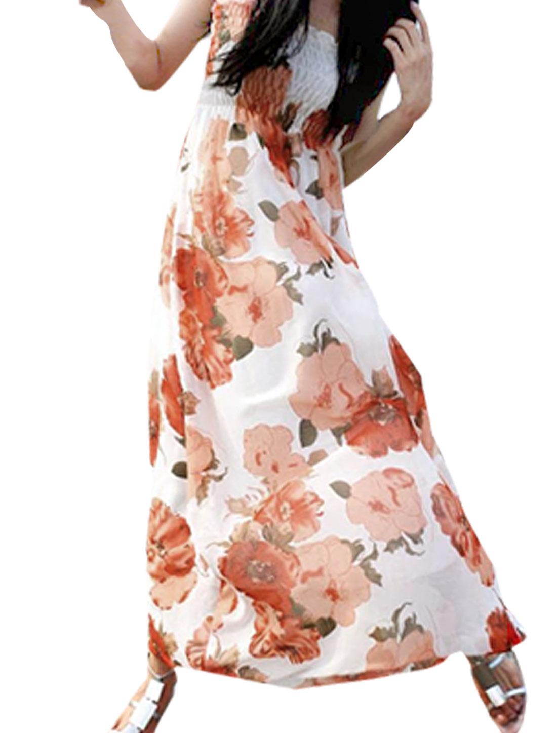 Ladies Adjustable Shoulder Strap Red Flowers White Chiffon Maxi Dress S