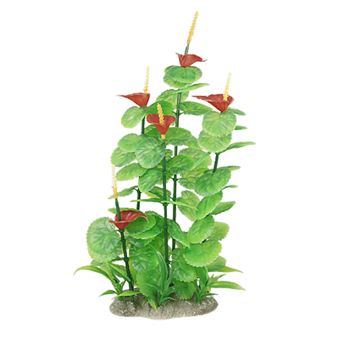 Fish Tank Red Flower Green Plastic Ornament Grass Plant