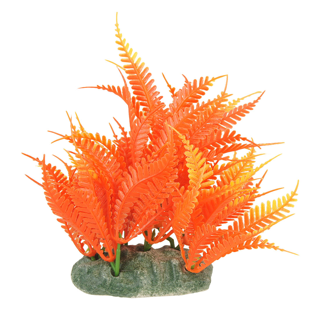 Orange Red Artificial Plastic Ornament Water Grass for Fish Tank