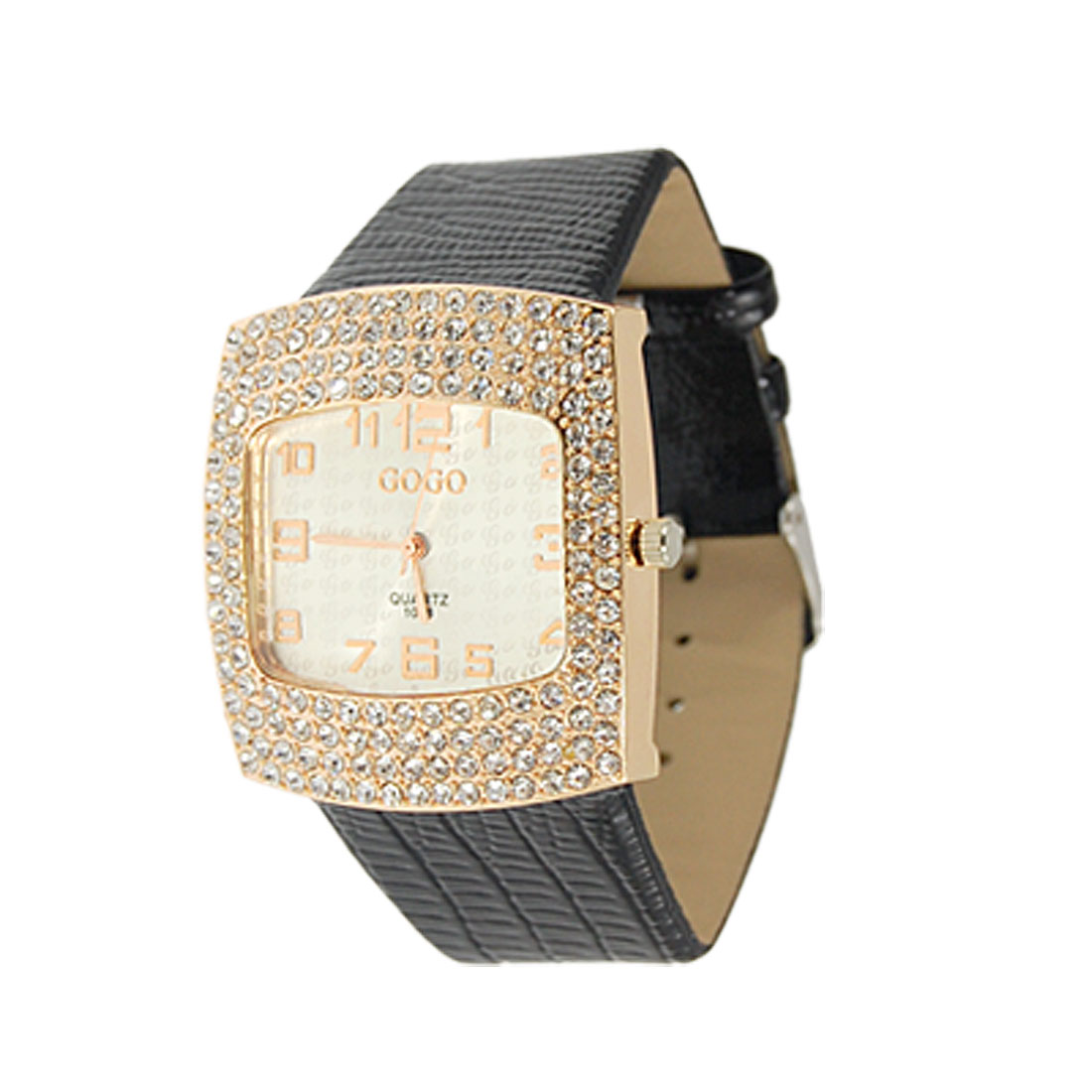 Lady Crocodile Print Faux Leather Band Rhinestone Decor Case Wristwatch Black