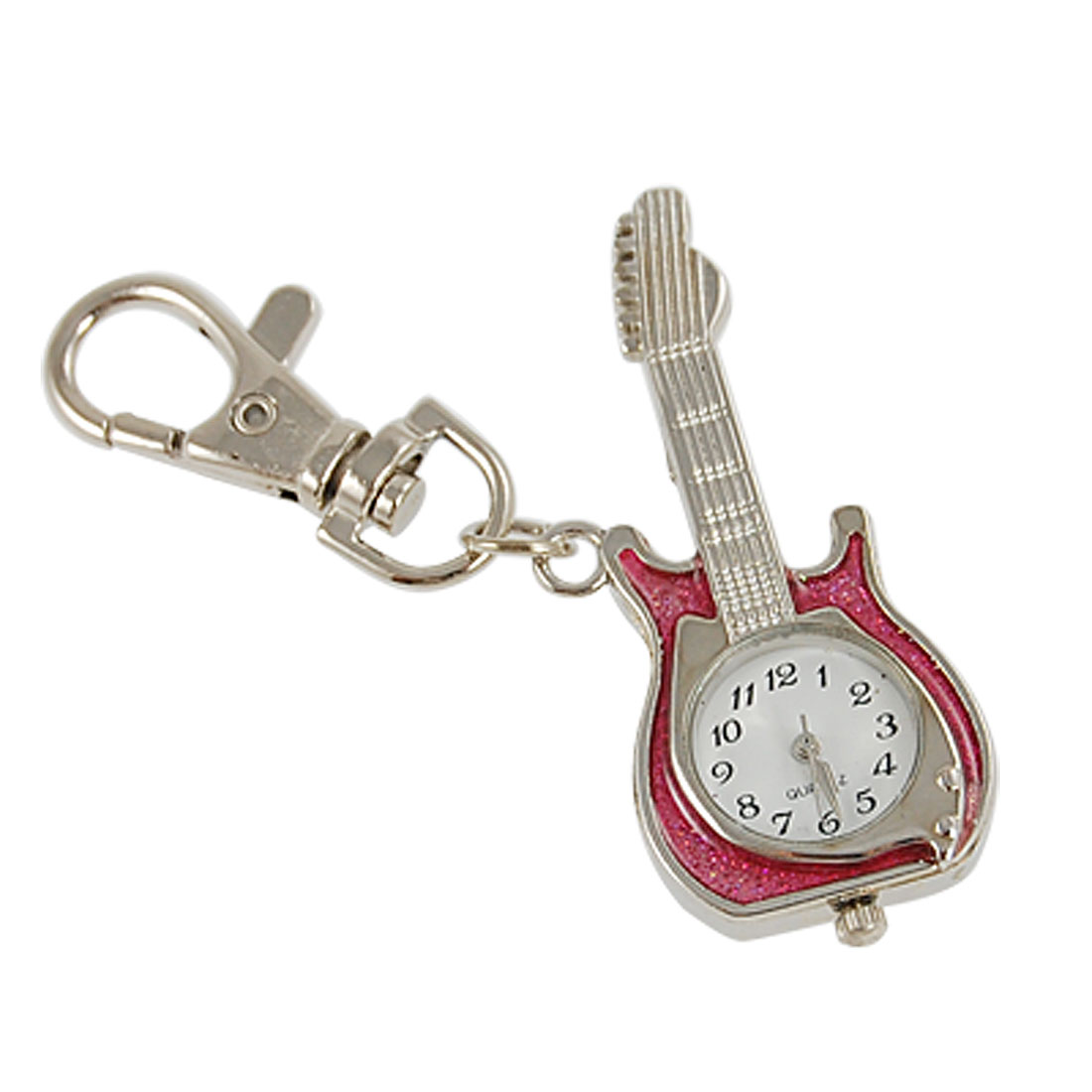 Red Silver Tone Guitar Pendant Bolt Hook Keyring Watch