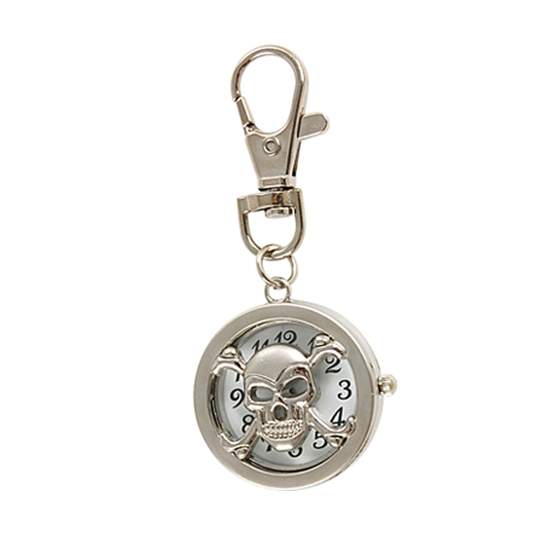 Silver Tone Skull Hunter Case Round Pendant Losbter Hook Key Ring Watch