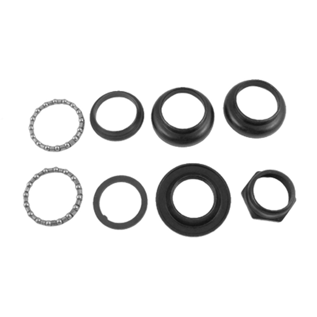 "Black Metal Bicycle Head Set 8 Parts 1"" Inner Diameter"