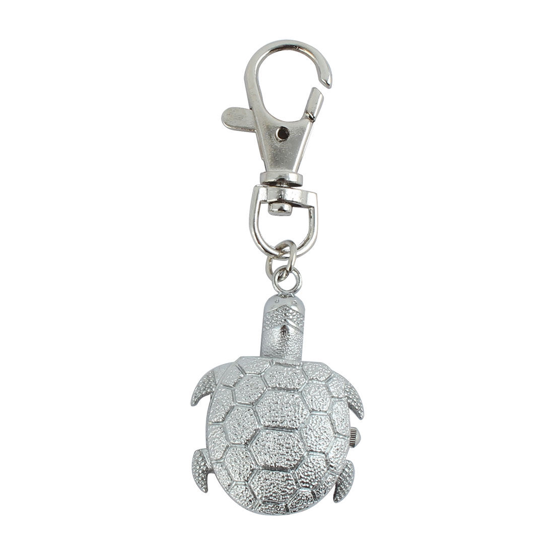 Turtle Pendant Hunter Case Fob Clock Quartz Mini Key Ring Watch Silver Tone