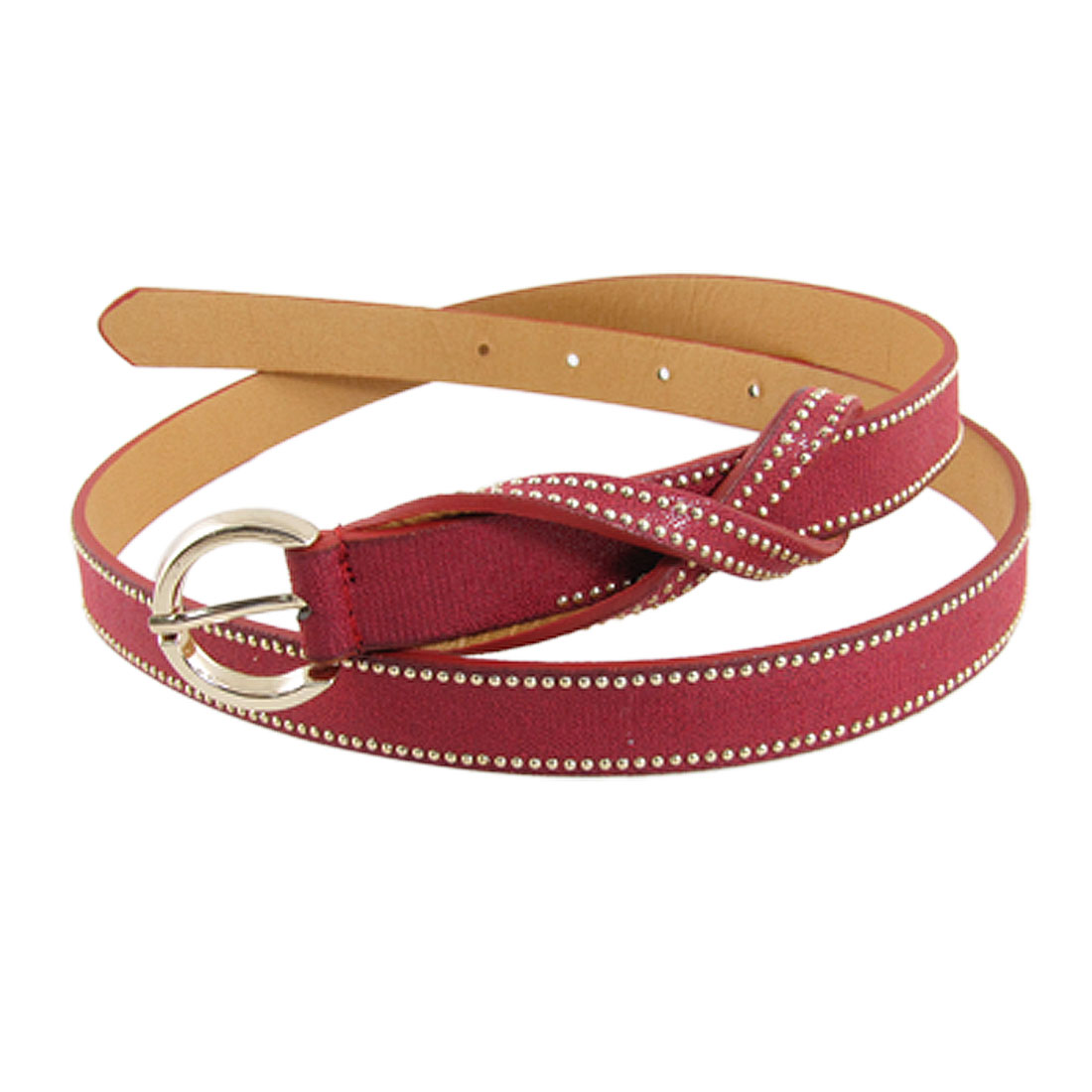 Dual Row Gold Tone Beads Red Perforated Belt for Lady