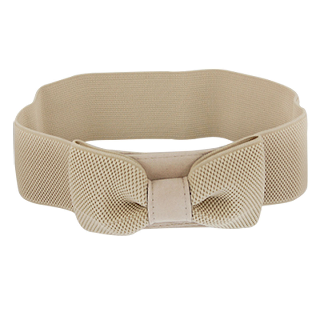 Ladies Bowknot Hook Buckle Beige Stretchy Cinch Waist Belt