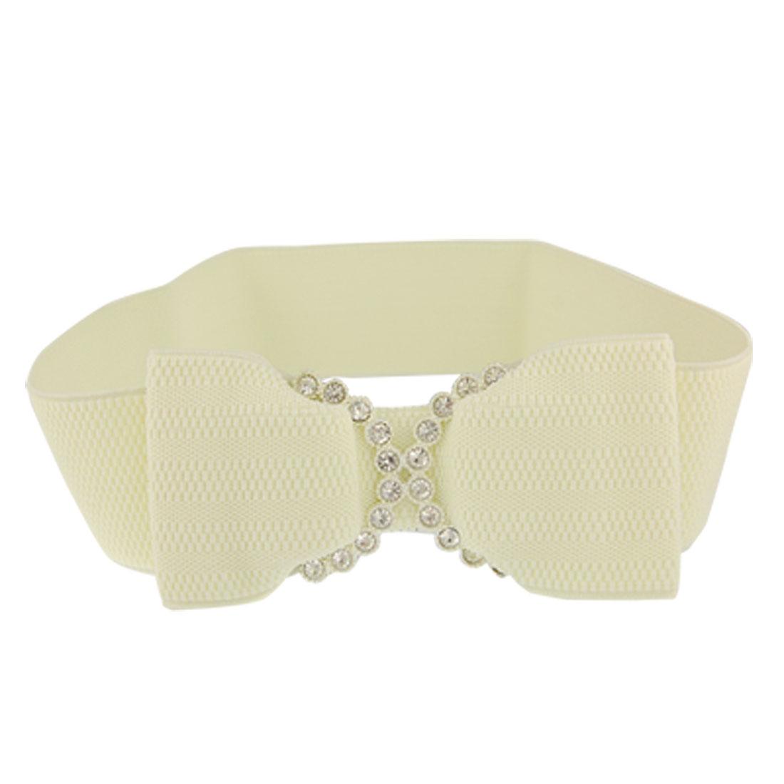 Glittery Rhinestone Detail Beige Elastic Cinch Belt for Lady