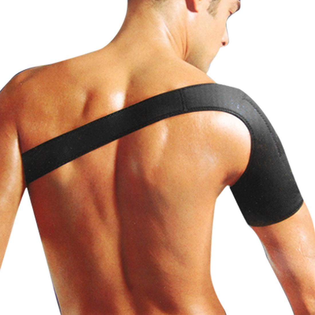 Men Neoprene Elastic Single Shoulder Brace Support Black