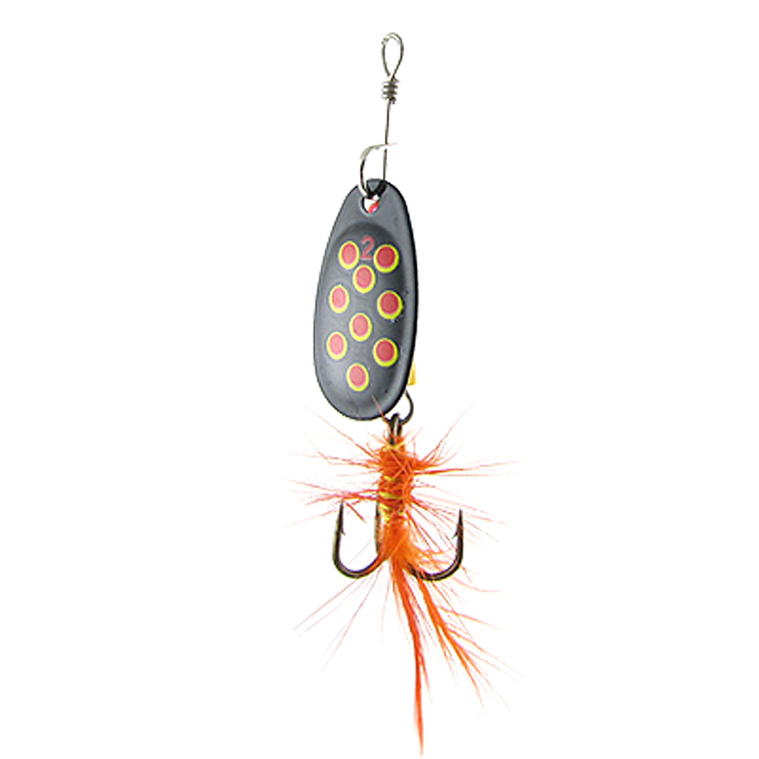 Angling Tackle Metal Lure Fishing Treble Hook w Orange Feather
