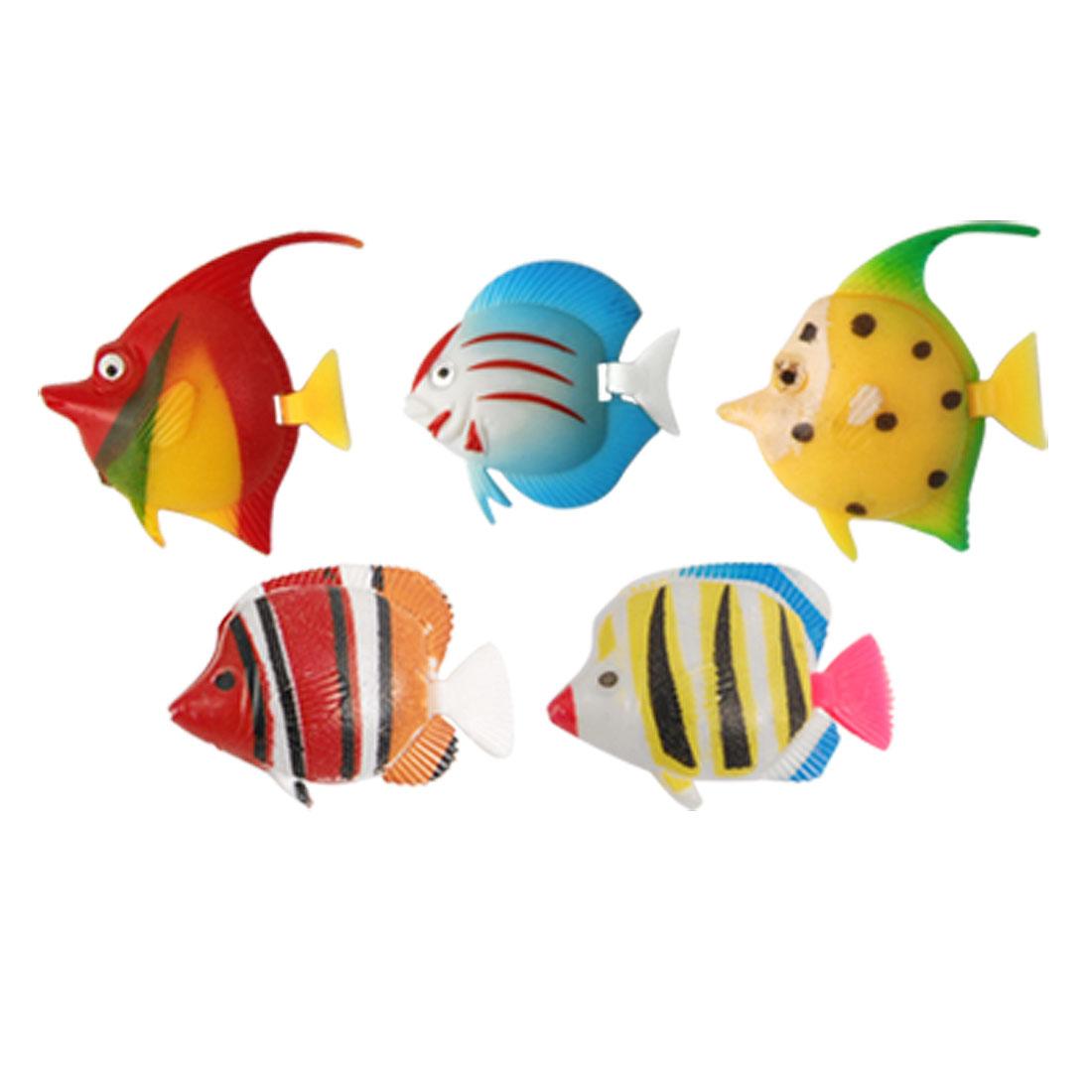 Aquarium Assorted Color Plastic Movable Tropical Fish Ornament 5 Pcs