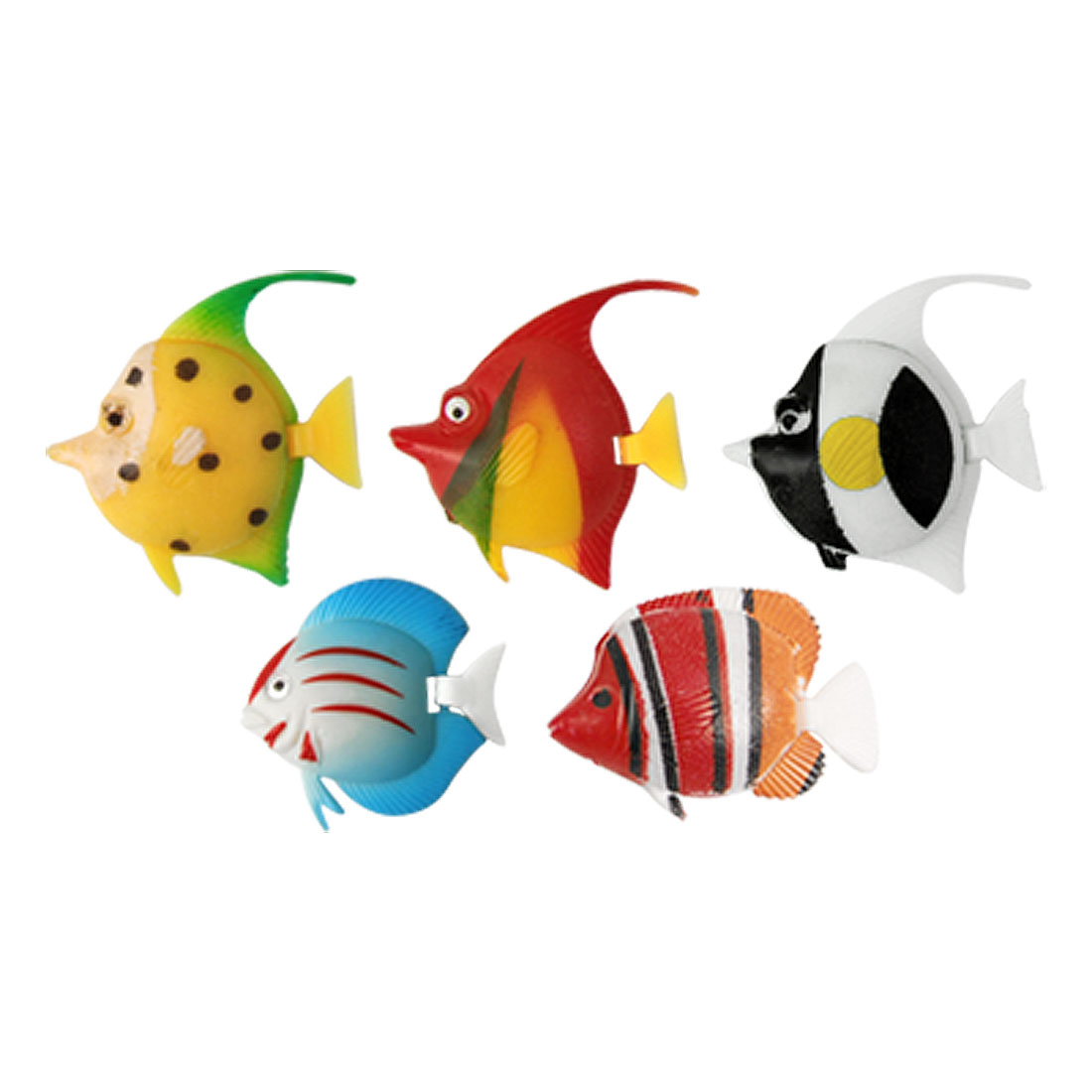 Aquarium Fish Bowl Plastic Simulation Multi-colored Fishes Ornament 5 Pcs