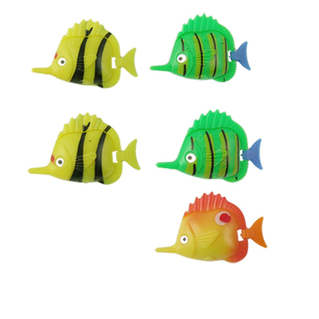 Artificial Plastic Movable Tail Fish Decor 5 Pcs for Aquarium