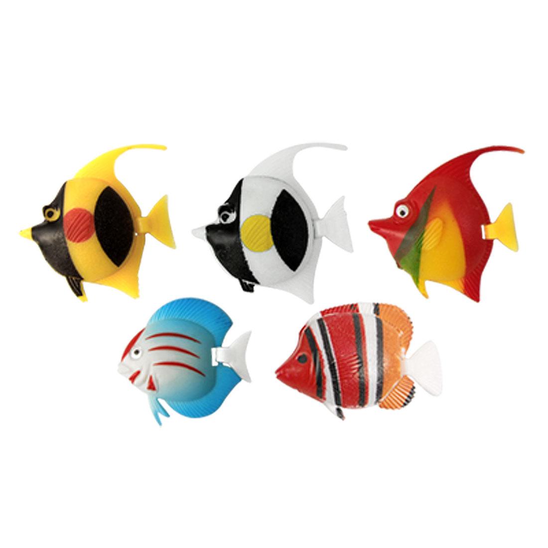 5 Pcs Multi-colored Plastic Tropical Fish Decor for Aquarium